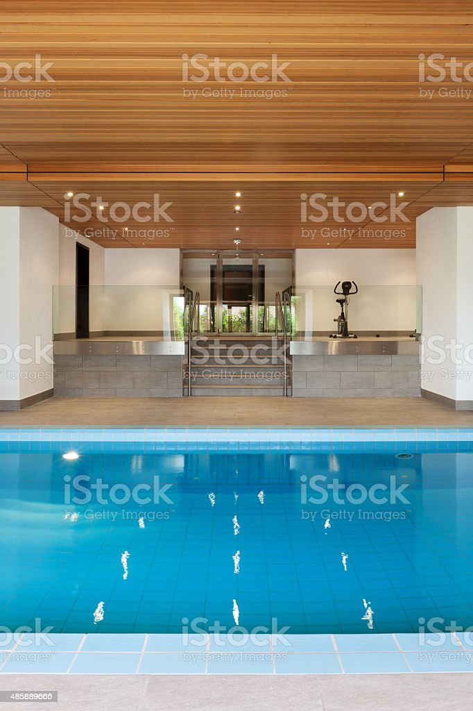 apartment, indoor swimming pool stock photo