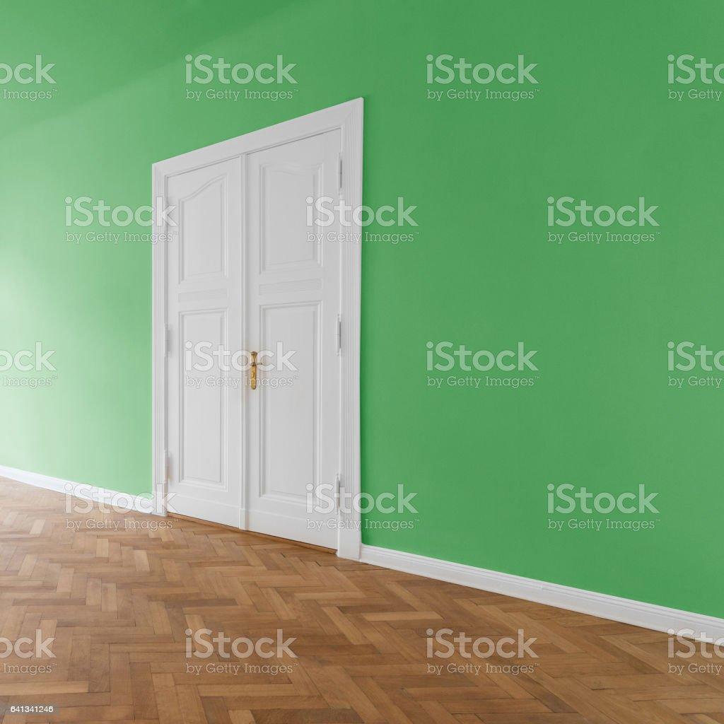 Apartment interior, green walls stock photo