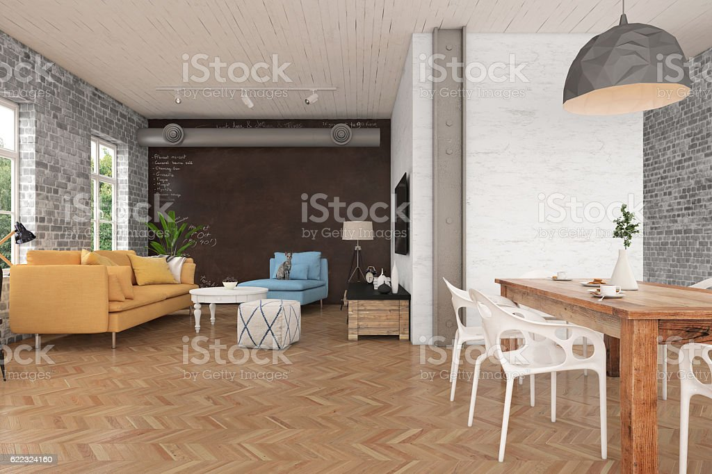 Apartment interior showing living and dining room stock photo