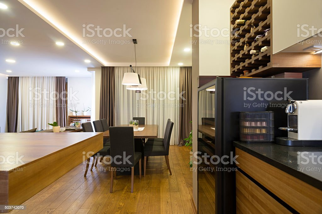 Apartment interior - view to a dining space stock photo
