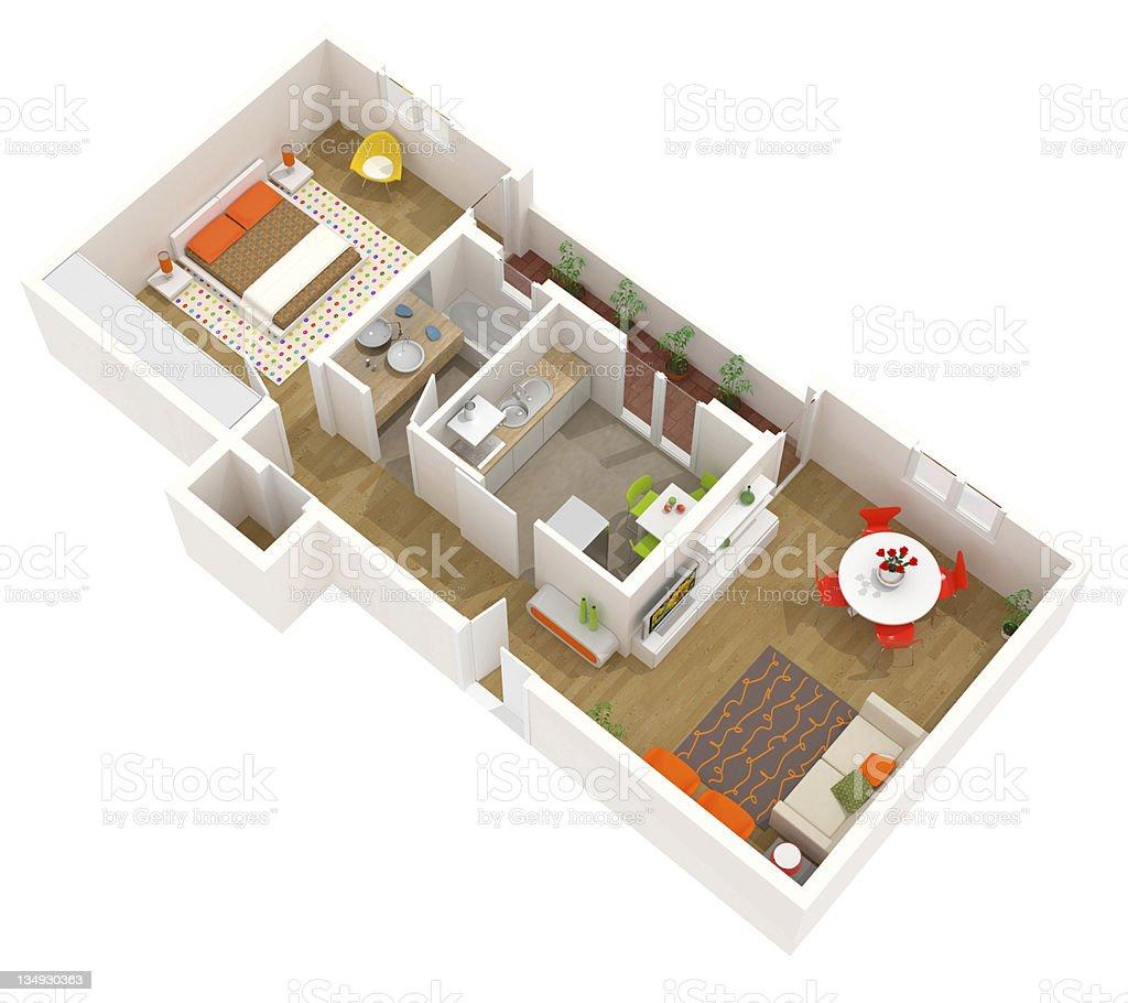 3D apartment model with contemporary interior design stock photo