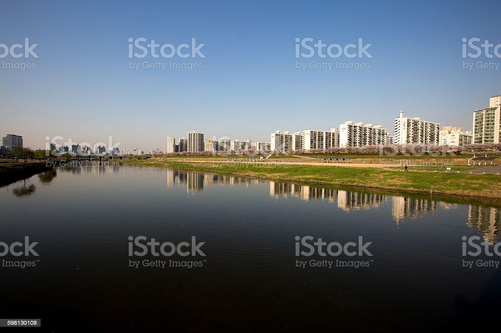 Apartment next to the river stock photo