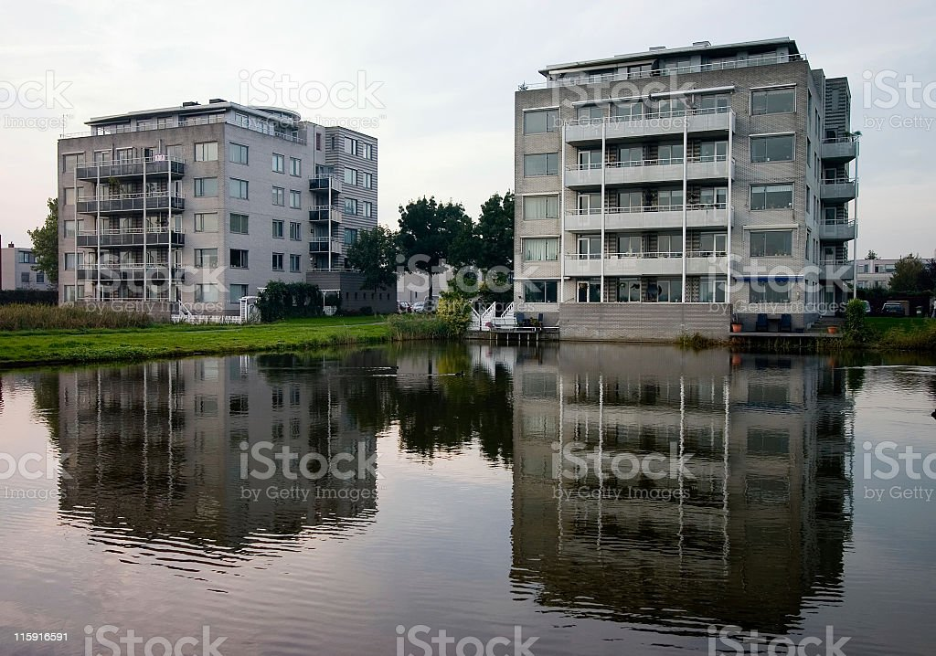 Apartment reflections stock photo