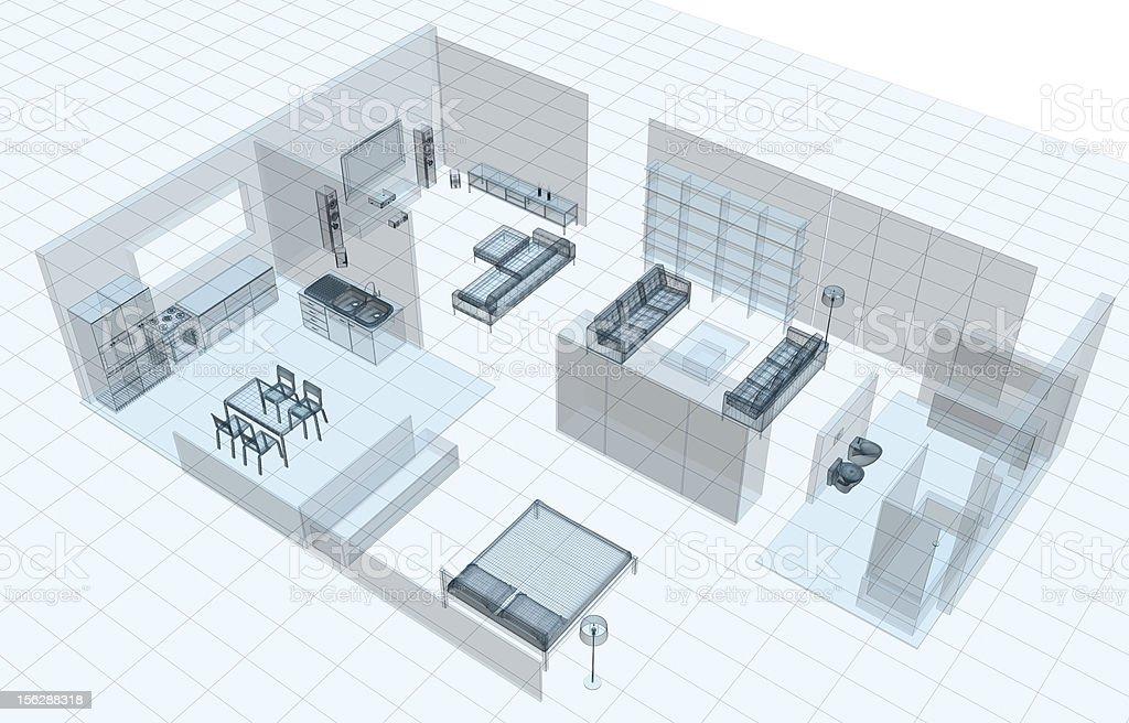 Apartment technical blueprint royalty-free stock photo