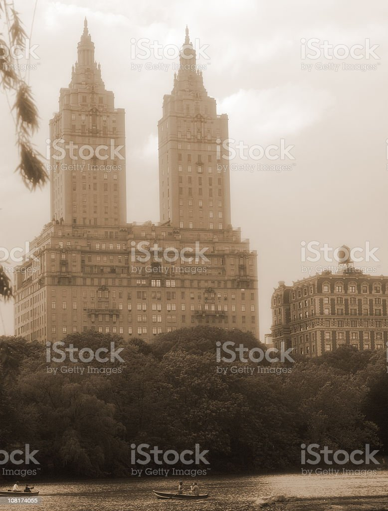 Apartment Towers Over Central Park Lake royalty-free stock photo
