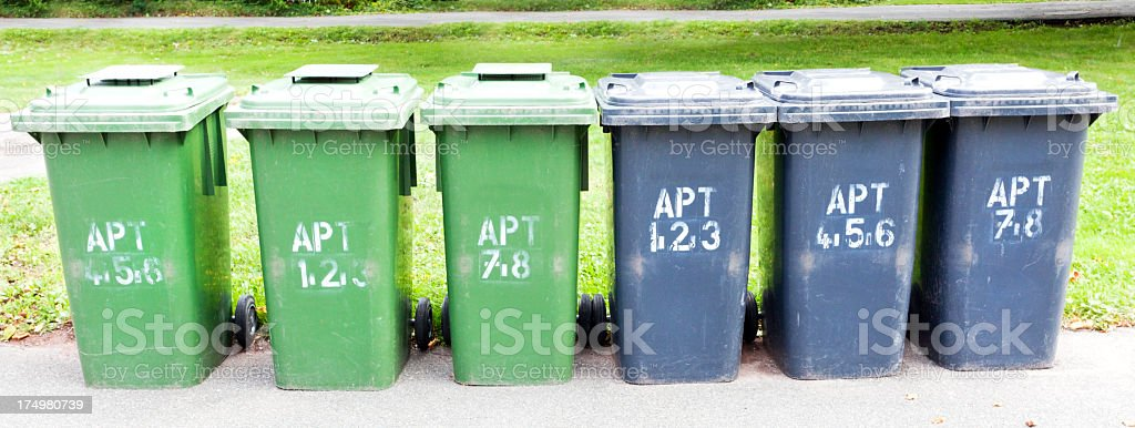 Apartment Trashcans royalty-free stock photo