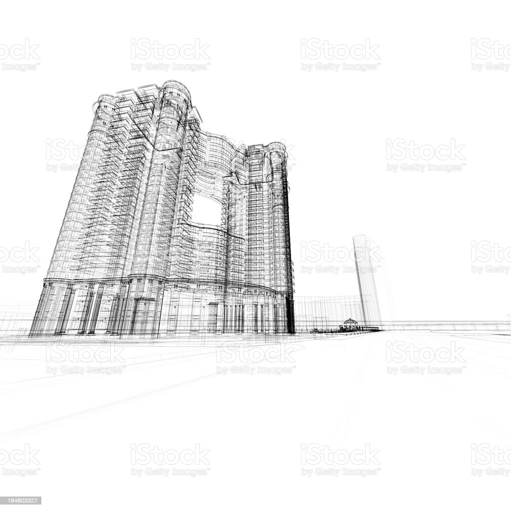 Apartment Wireframe royalty-free stock photo