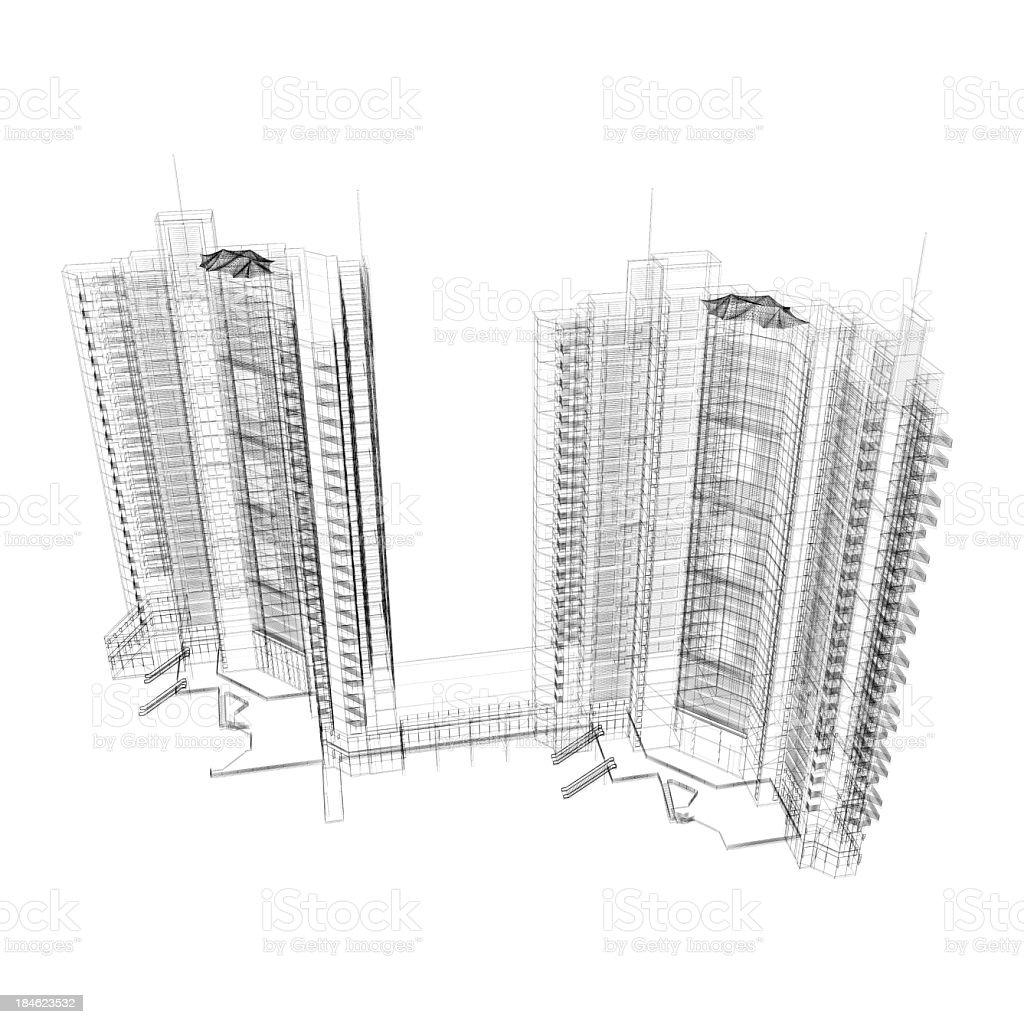 Apartment Wireframe stock photo