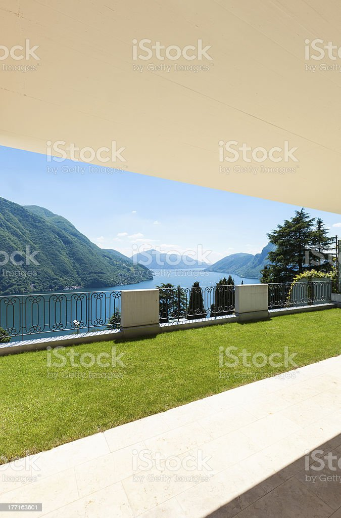 apartment with garden, panorama royalty-free stock photo