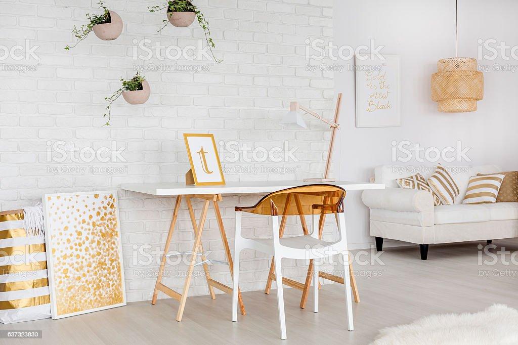 Apartment with minimalistic decors stock photo