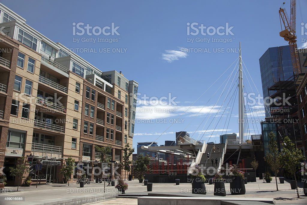Apartments and Denver Millennium Bridge Colorado royalty-free stock photo