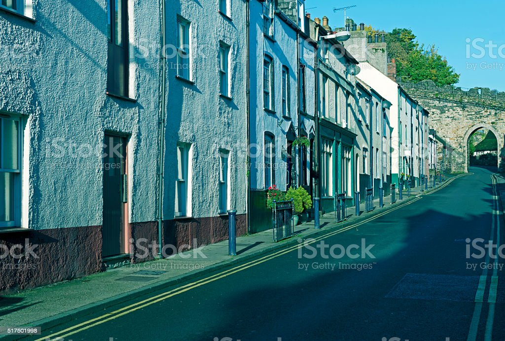 Apartments and medieval wall in Conwy Wales stock photo