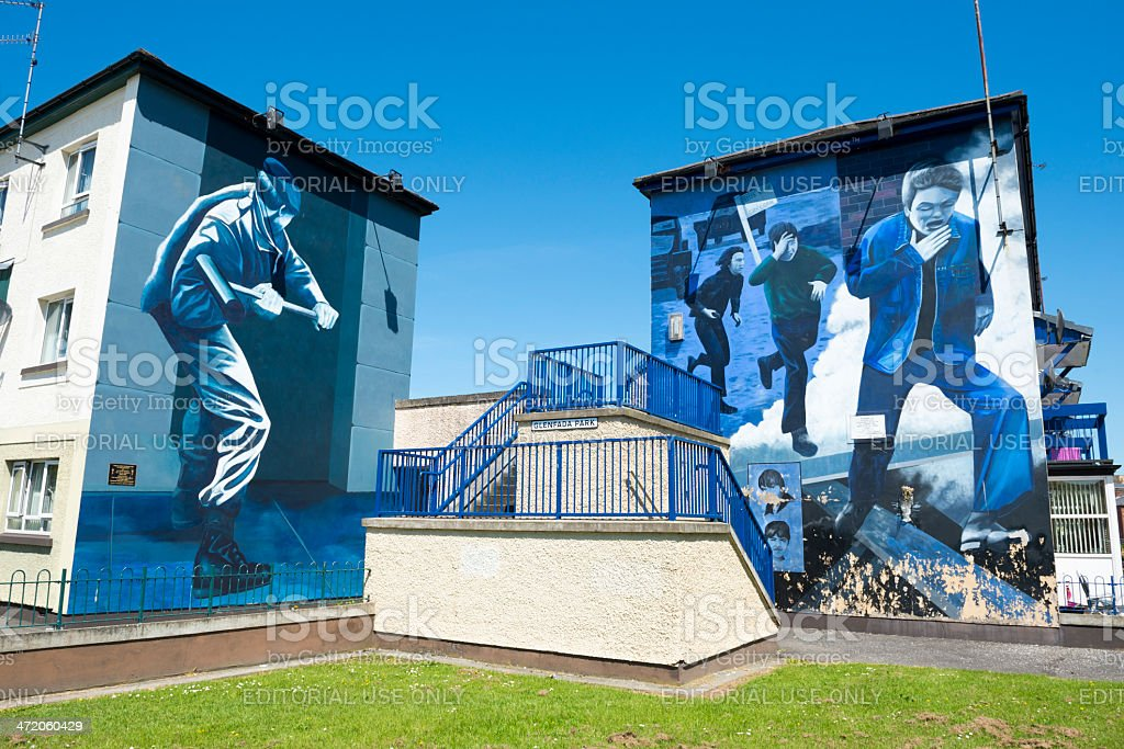 Apartments and murals in Derry, Northern Ireland stock photo