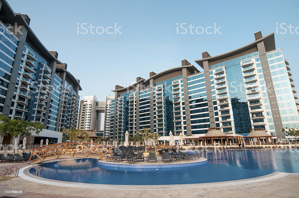 Apartments and pool royalty-free stock photo