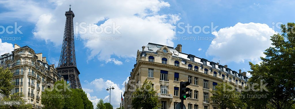 Apartments, avenues and Eiffel Tower stock photo