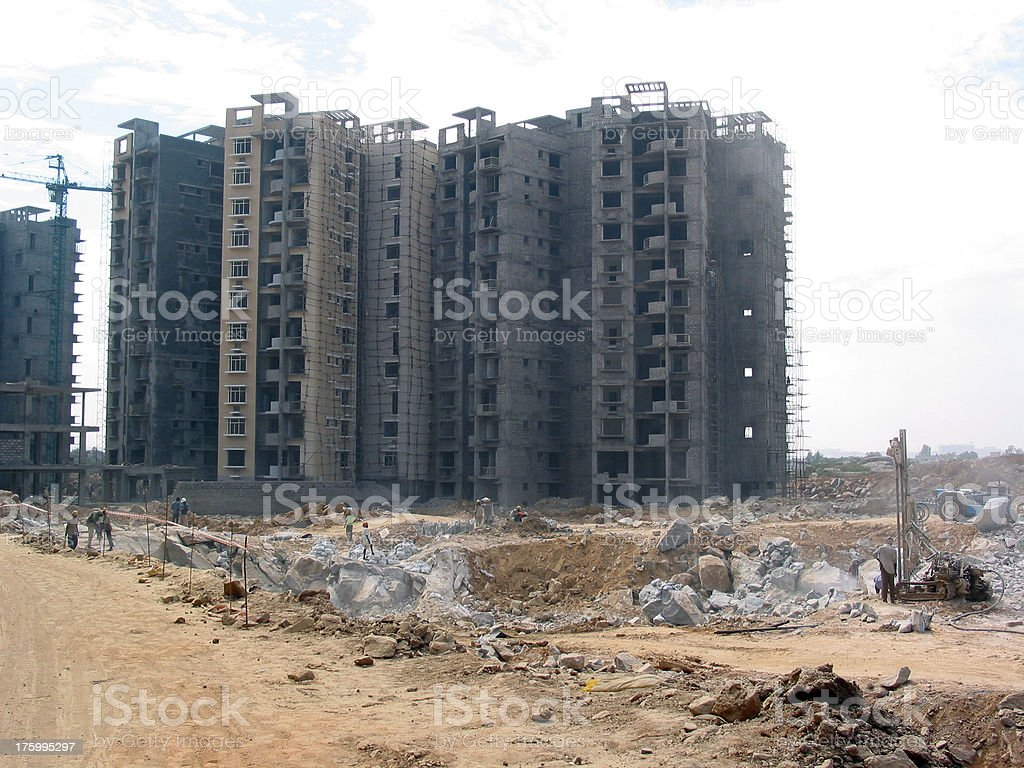Apartments Being Constructed, Hyderabad - India stock photo
