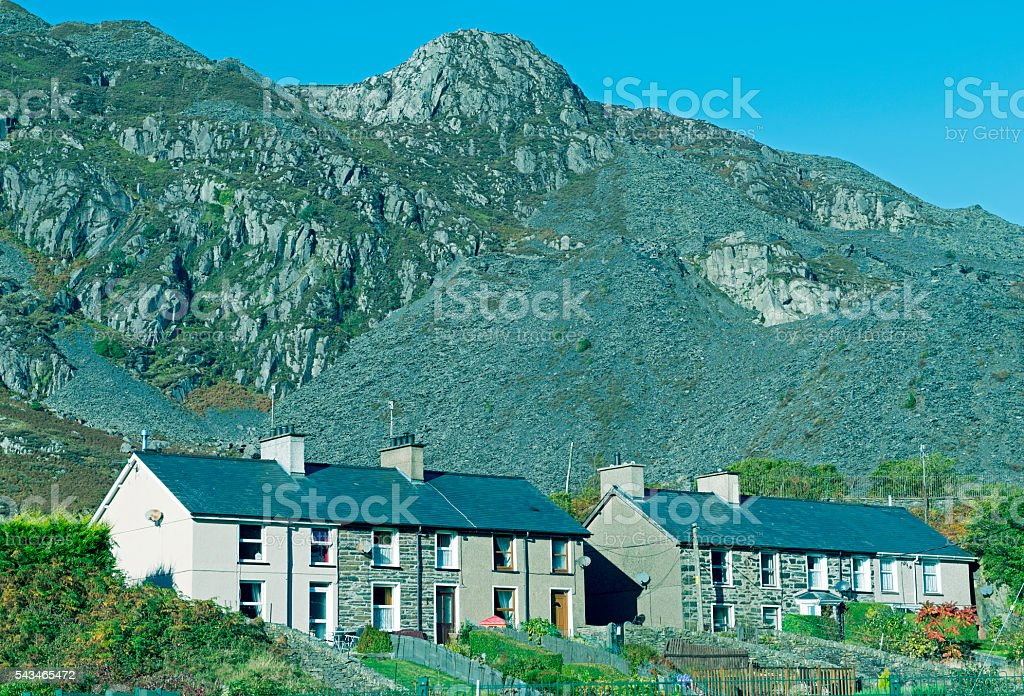 Apartments below slate mountains in northern Wales stock photo