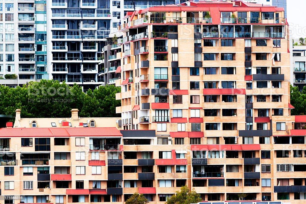 Apartments blocks with balconies stock photo