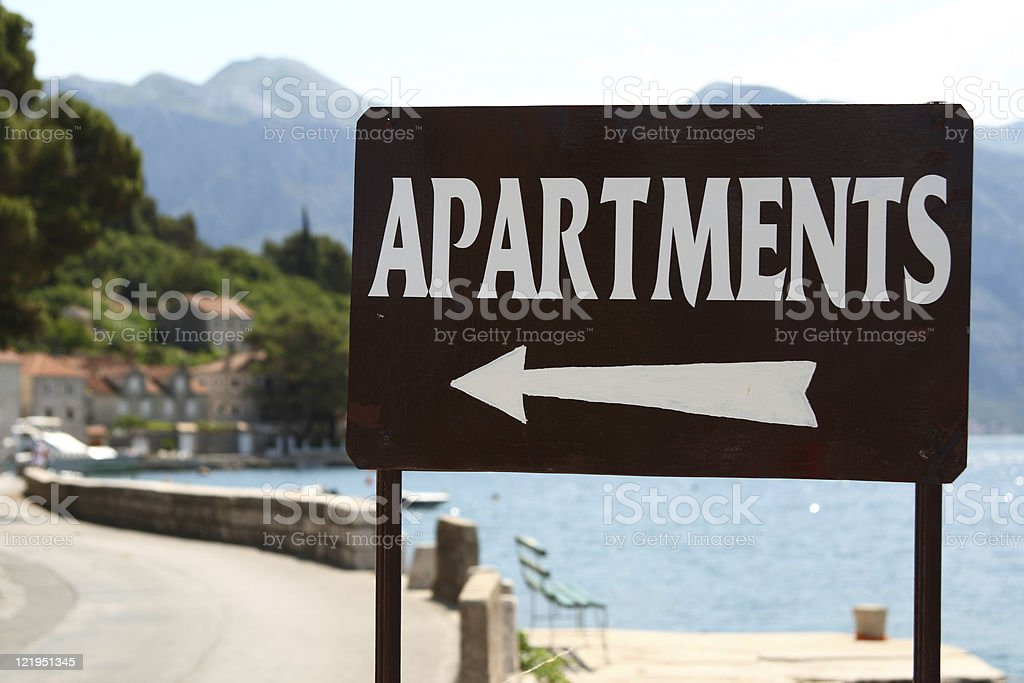 apartments for rent sign stock photo