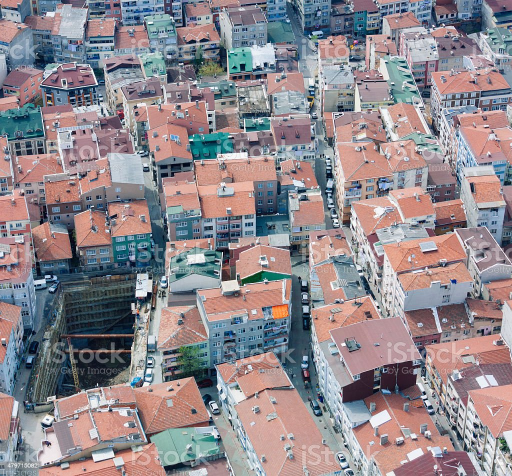 apartments in Istanbul, architecture of building exterior stock photo