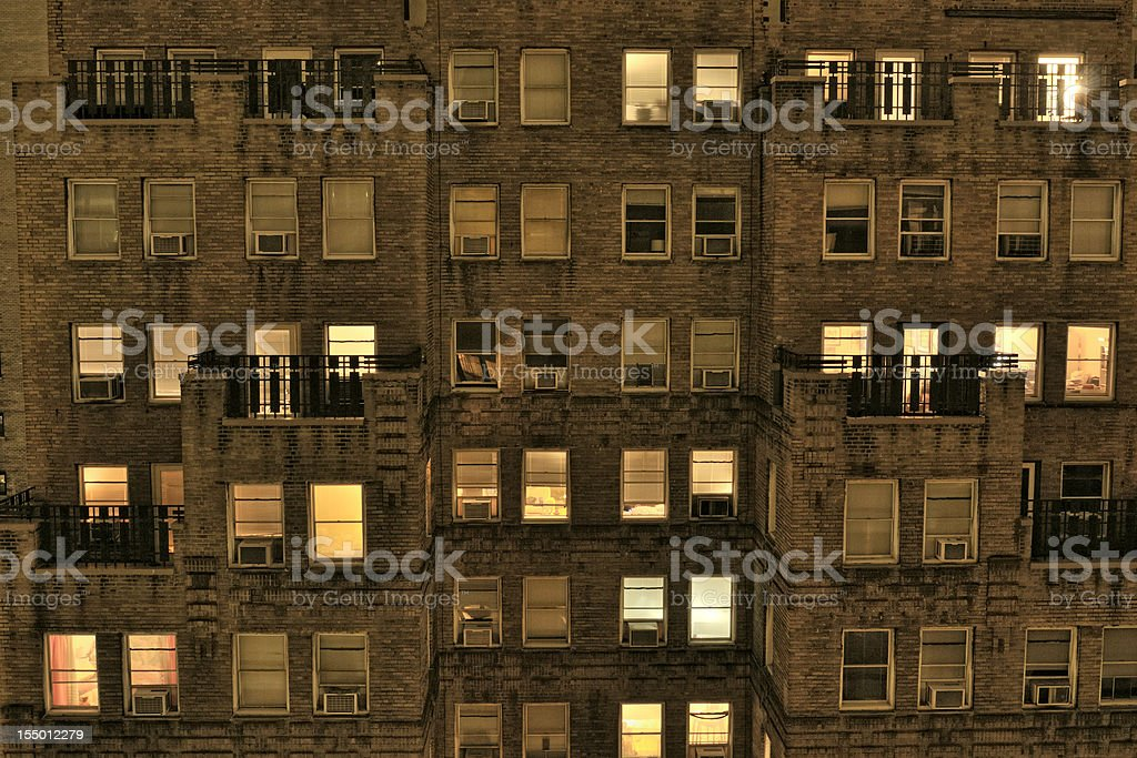 Apartments in the Night.NYC stock photo