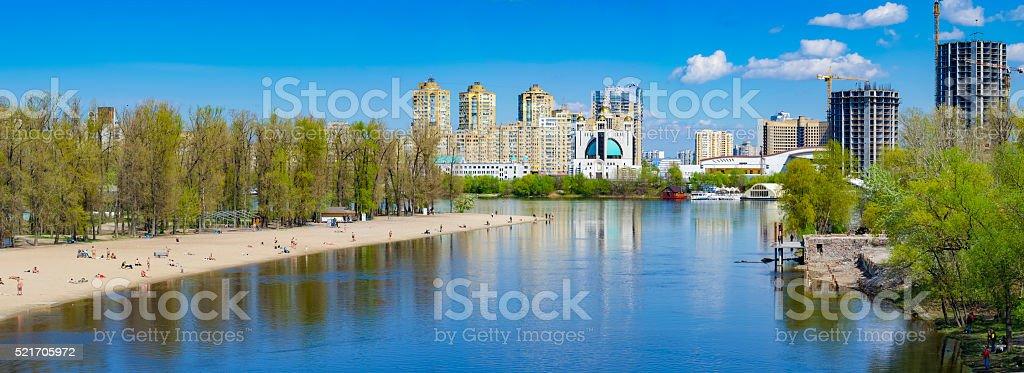 Apartments near river stock photo