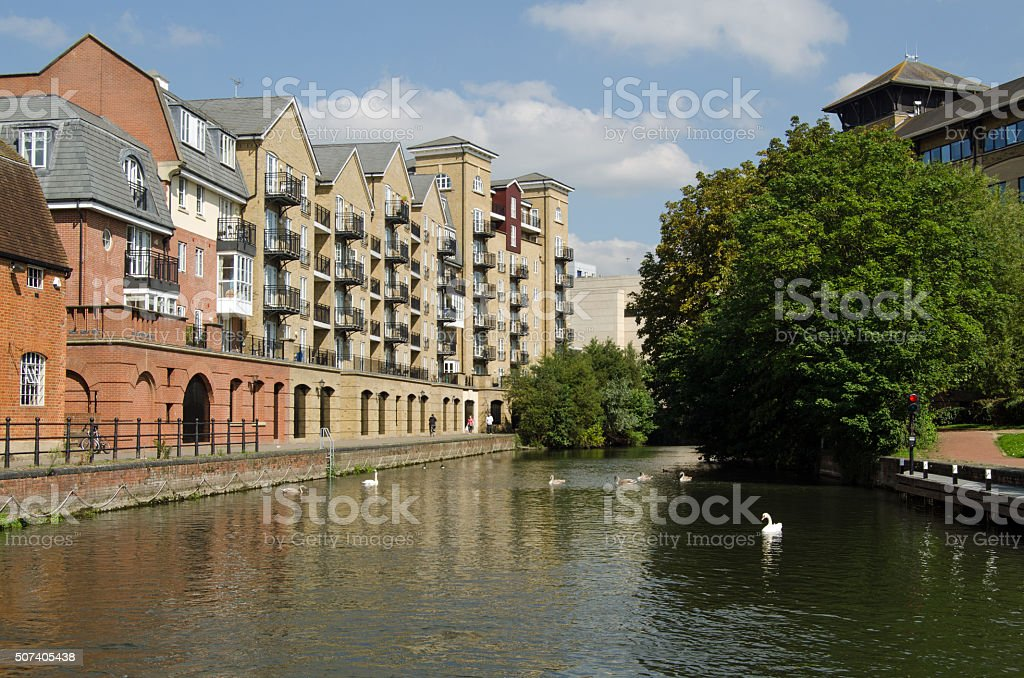 Apartments overlooking Canal in Reading, Berkshire stock photo