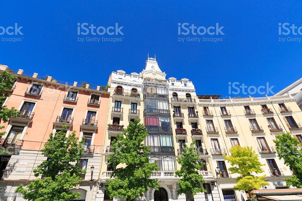 Apartments overlooking Plaza de Oriente in Madrid stock photo