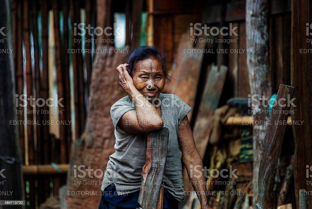 Apatani, elderly tribal woman, Arunachal Pradesh, India stock photo