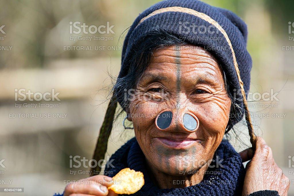 Apatani tribal woman from Arunachal Pradesh, India. stock photo