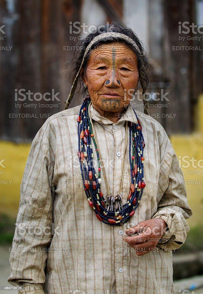 Apatani Tribal women, Arunachal Pradesh, India stock photo
