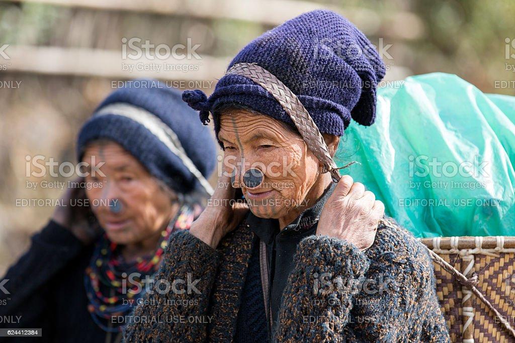 Apatani tribal women from Arunachal Pradesh, India. stock photo