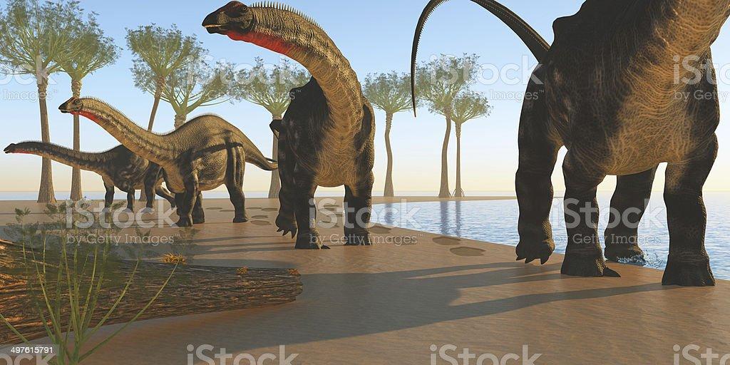 Apatosaurus Dinosaur Shore stock photo