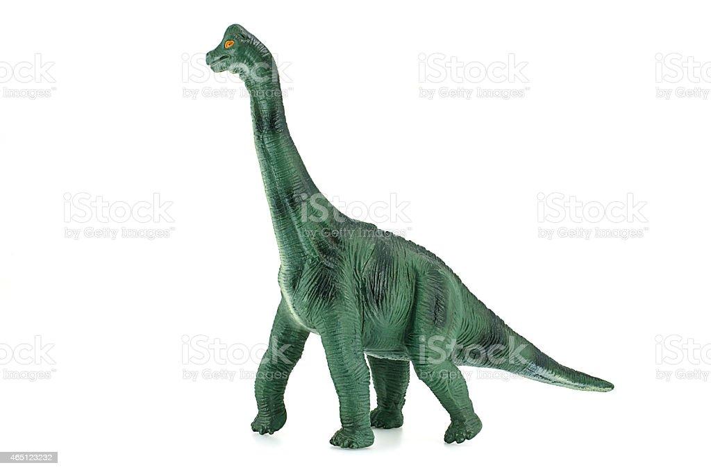 Apatosaurus dinosaurs toy isolated on white. stock photo