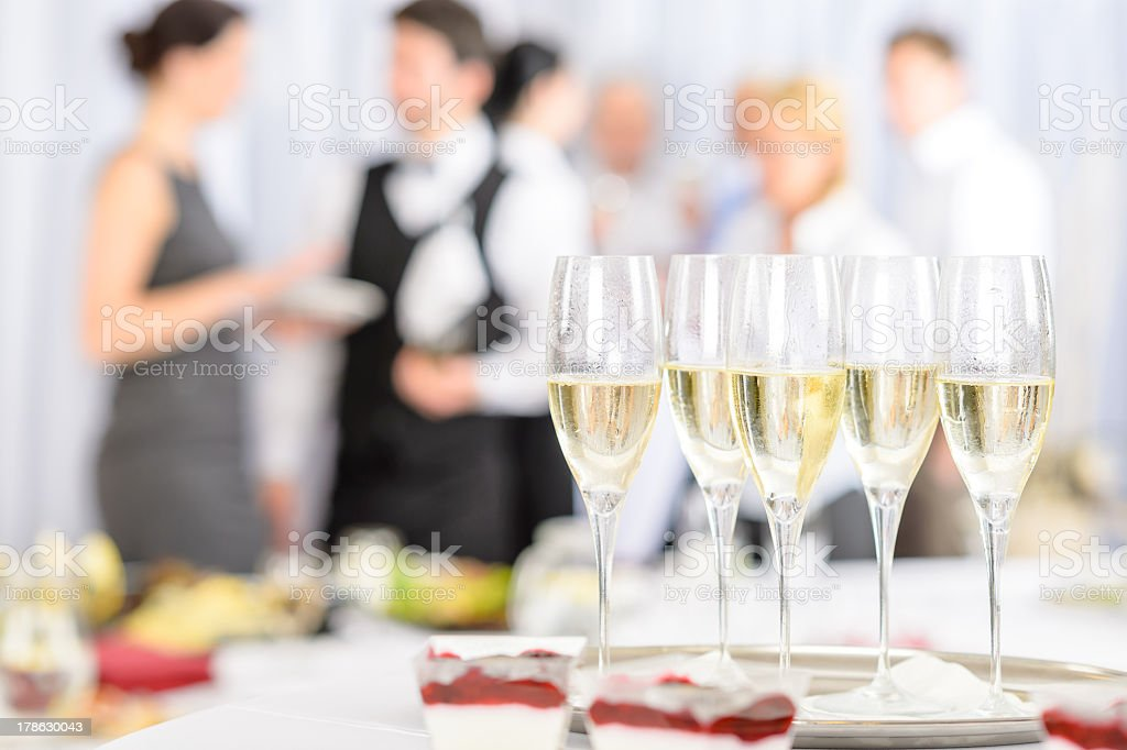 Aperitif champagne for meeting participants stock photo