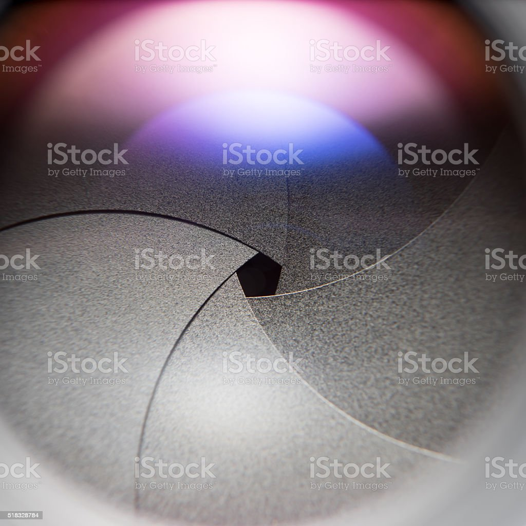 Aperture of Vintage Lens stock photo