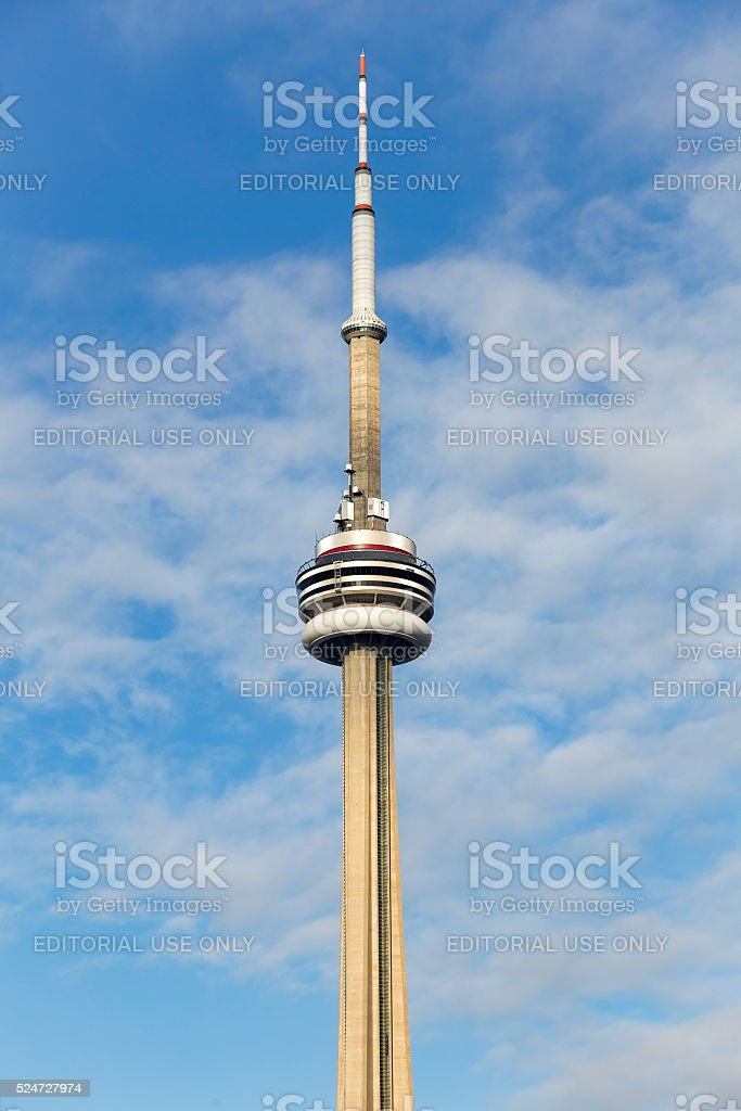Apex of The CN tower stock photo