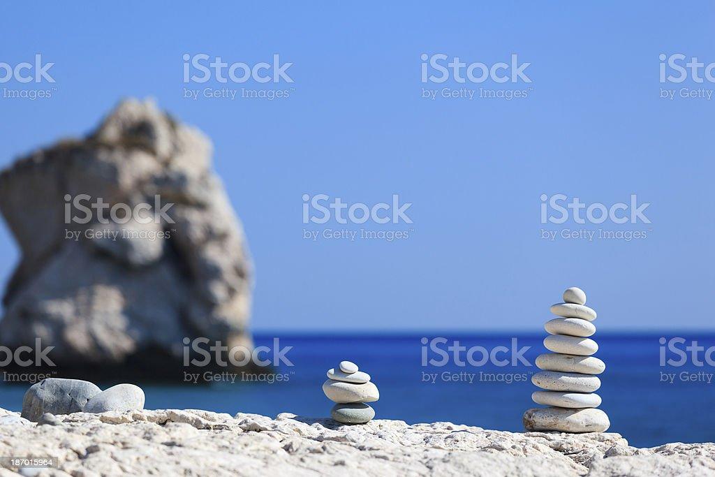 Aphrodite's Beach Cyprus - Balanced stones royalty-free stock photo