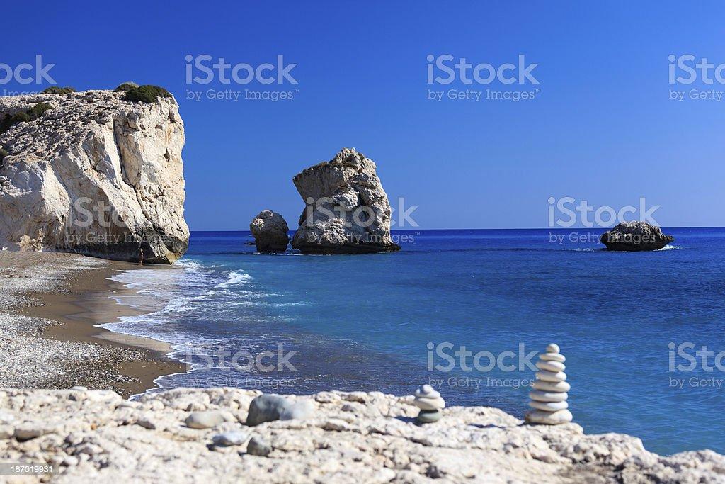 Aphrodite's Beach Cyprus - Balanced stones stock photo