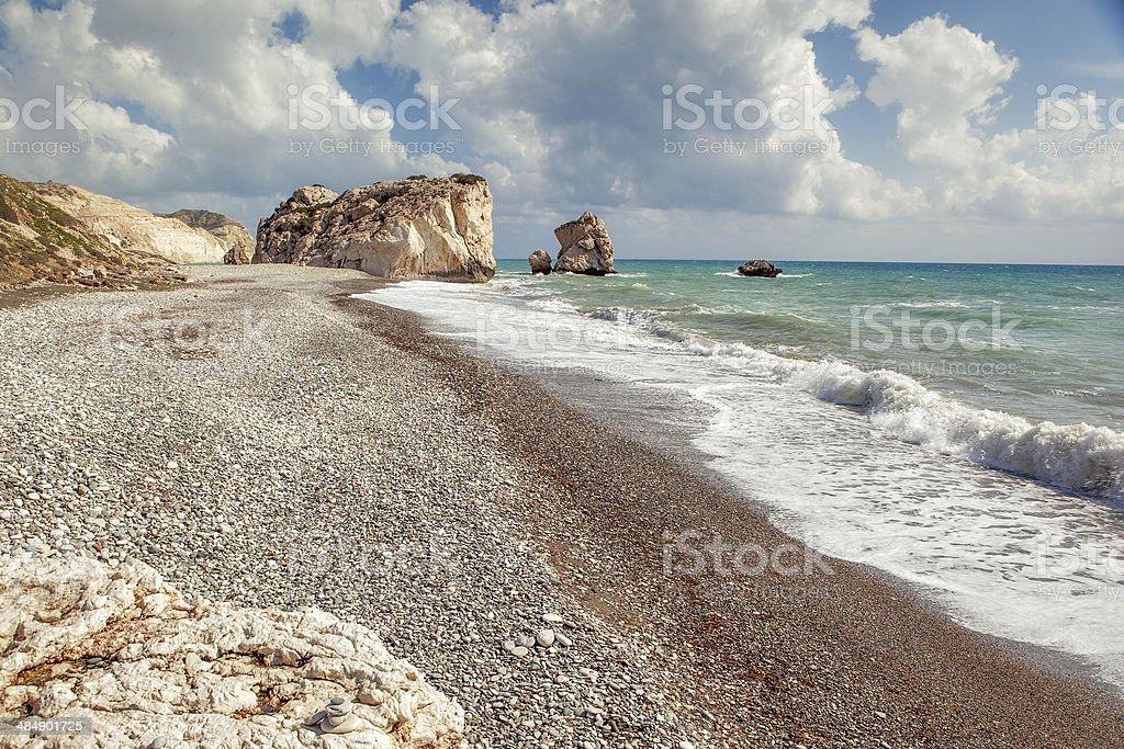 Aphrodite's rock and beach Petra tou Romiou stock photo