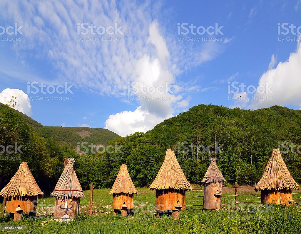 Apiary in mountains royalty-free stock photo