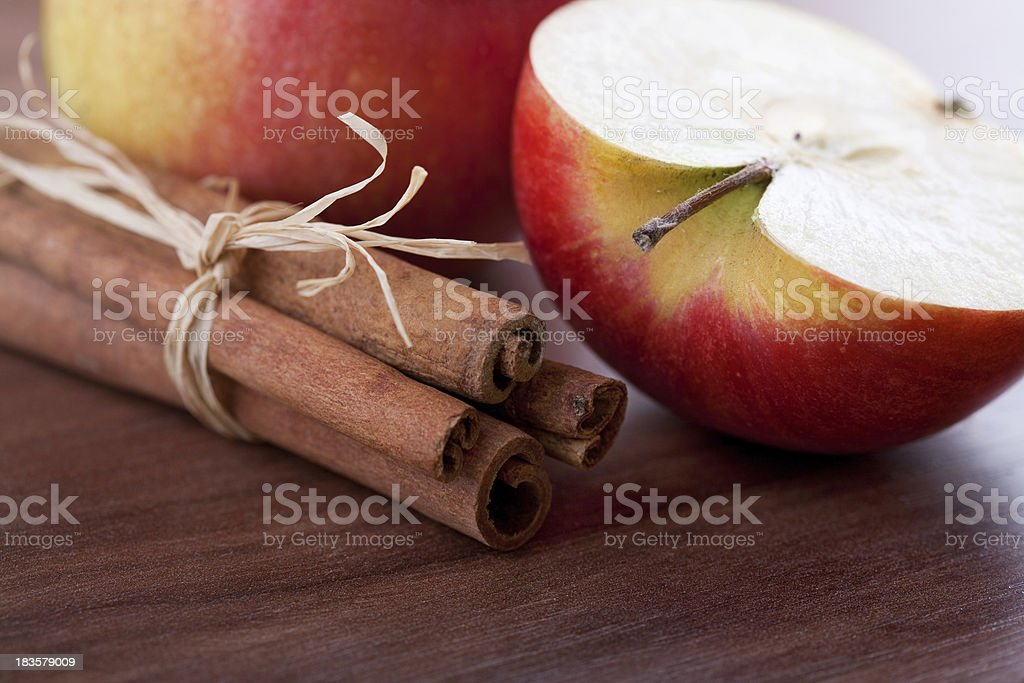 Aplle and cinnamon stock photo