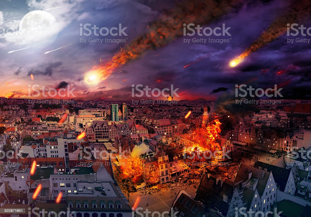 Apocalypse caused by a meteorite stock photo