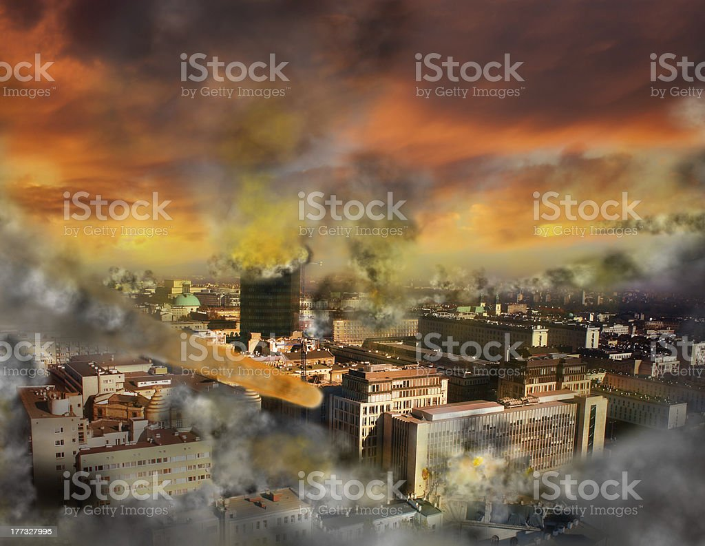 Apocalypse meteor storm stock photo