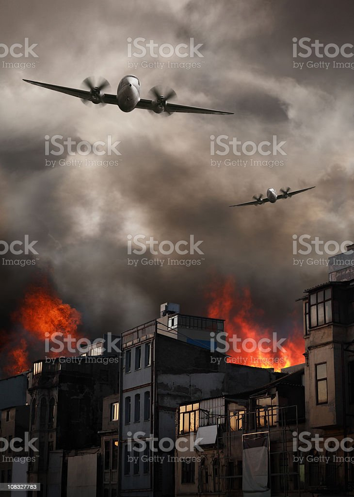 Apocalyptic Air Raid on Burning Town royalty-free stock photo