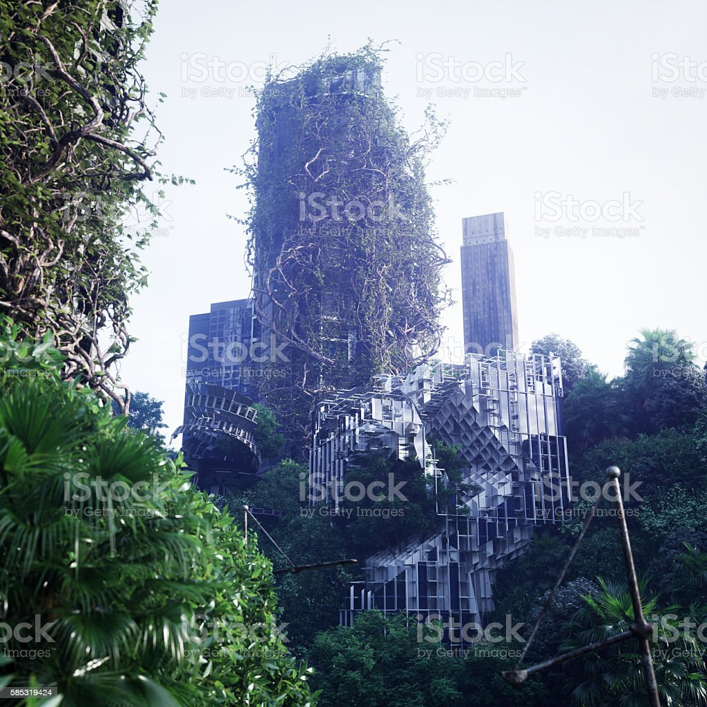 Apocalyptic concept background of futuristic and abandoned city stock photo