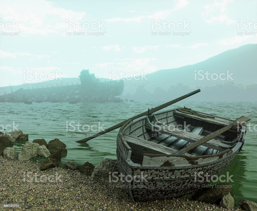 Apocalyptic concept background with old boat on the beach stock photo