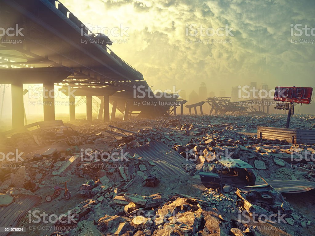 Apocalyptic landscape vector art illustration