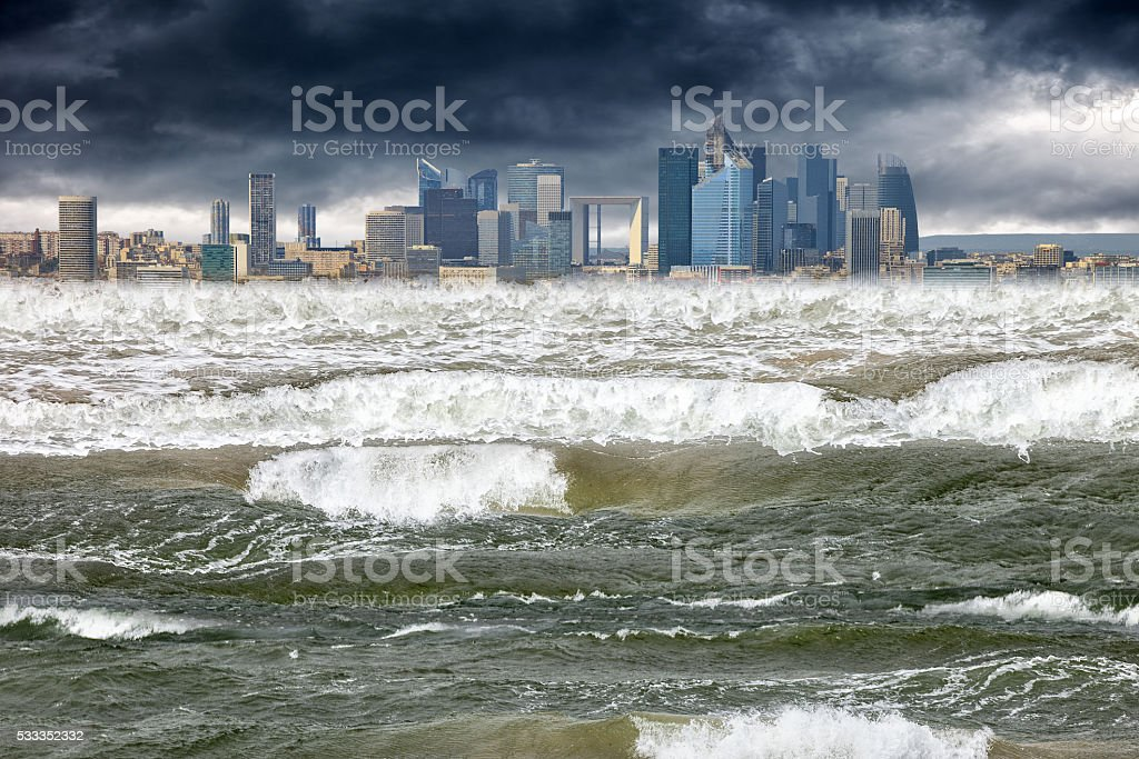 Apocalyptic scene tsunami stock photo