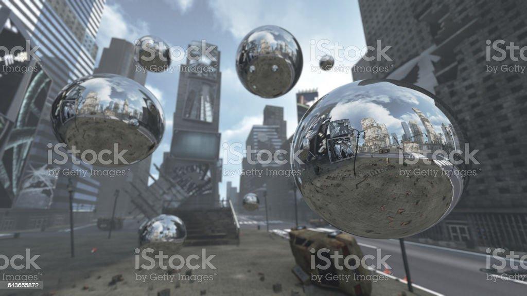 Apocalyptic silver spheres on Time Square New York Manhattan. stock photo